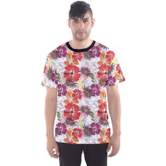 Colorful Flower Floral Pattern Texture Art Men s Sport Mesh Tee by CoolDesigns