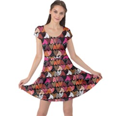 Dark Pattern Hearts Cap Sleeve Dress