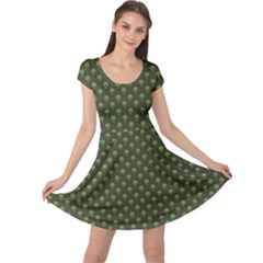 Green Pattern Clover St Patrick Cap Sleeve Dress by CoolDesigns