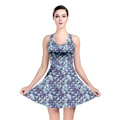 Blue Abstract Geometric Pattern Reversible Skater Dress