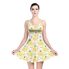 Yellow Pineapple Pattern Reversible Skater Dress