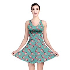 Turquoise Camera Flat Pattern Reversible Skater Dress by CoolDesigns