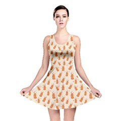 Orange Pattern Fox Reversible Skater Dress by CoolDesigns