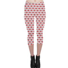 Red Pattern Little Strawberries Texture Capri Leggings by CoolDesigns