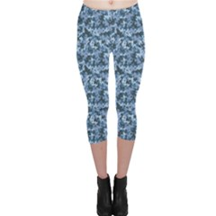 Blue Camouflage Pattern Capri Leggings