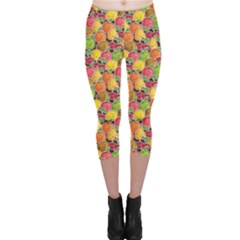 Colorful Pattern Cute Kawaii Smiling Fruits Stickers Capri Leggings