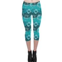 Turquoise Pattern Pisces Astrology Symbols Capri Leggings by CoolDesigns