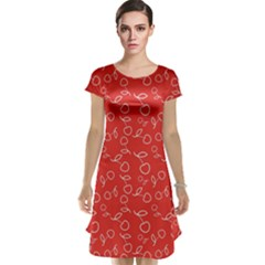 Red Pattern Circuit Cherry Cap Sleeve Nightdress