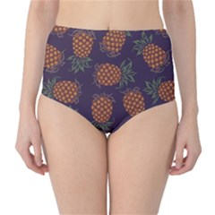 Purple Pattern Of Pineapple High Waist Bikini Bottom by CoolDesigns