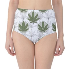 Green Marijuana Badges With Marijuana Leaves High Waist Bikini Bottom by CoolDesigns
