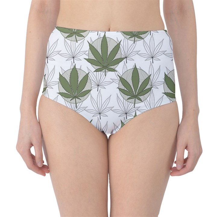 Green Marijuana Badges with Marijuana Leaves High Waist Bikini Bottom