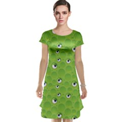 Green Pattern With Bubbles And Eyes Cap Sleeve Nightdress