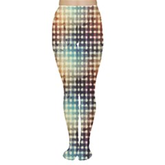 Brown Pattern Grunge Retro Geometric Pattern Women s Tights by CoolDesigns