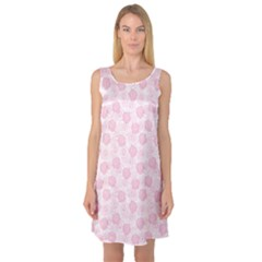 Pink Retro Floral Pattern With Elegant Pink Roses Sleeveless Satin Nightdress by CoolDesigns