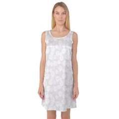 Gray Grey And White Floral Pattern With Classic White Sleeveless Satin Nightdress