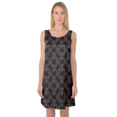 Black Butterfly Web Flat Design Gray Pattern Sleeveless Satin Nightdress by CoolDesigns