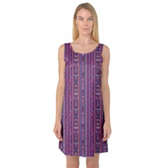 Purple Ethnic Pattern In Retro Colors Sleeveless Satin Nightdress by CoolDesigns
