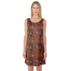 Brown Pattern With Coffee Cups Beans Croissant Calligraphic Sleeveless Satin Nightdress by CoolDesigns