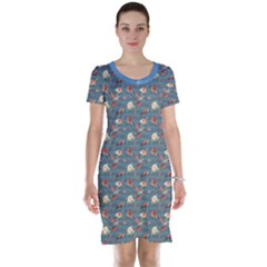 Blue Hummingbird And Tropical Short Sleeve Nightdress by CoolDesigns