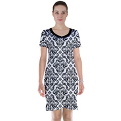 Black Oriental Fine Pattern With Damask Arabesque And Floral Short Sleeve Nightdress by CoolDesigns