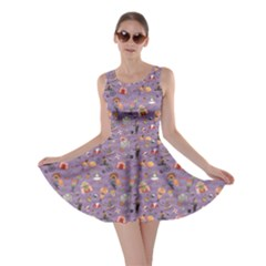 Purple Colorful Circus Pattern Skater Dress