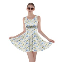 Blue Easter Pattern Floral Elements And Eggs Skater Dress by CoolDesigns