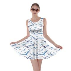 Blue Pattern Birds Silhouettes Skater Dress by CoolDesigns
