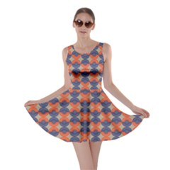 Colorful Pattern Orange And Blue Hemispheres Skater Dress by CoolDesigns