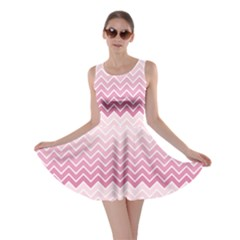 Pink Chevron Pattern Zigzag Card Skater Dress by CoolDesigns