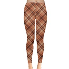 Orange Yellow And Brown Pattern Leggings by CoolDesigns