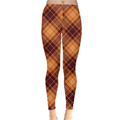 Orange Orange And Brown Cross Pattern Leggings by CoolDesigns