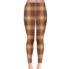 Orange Orange And Brown Cross Pattern Dashed Lines Leggings by CoolDesigns