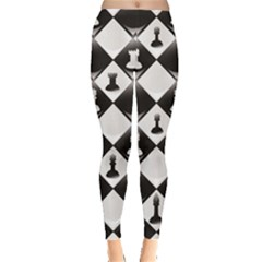 Black A Ly Repeatable Glossy Chessboard Chess Pieces Leggings