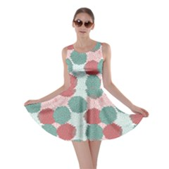Turquoise Abstract Color Flowers Pattern Skater Dress