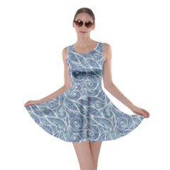 Blue Light Blue Hair Curls Waves Pattern Skater Dress by CoolDesigns