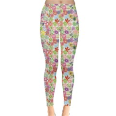Colorful Summer Flower Pattern Leggings by CoolDesigns