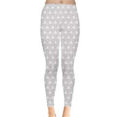 Gray Monochrome Geometric Pattern Leggings by CoolDesigns