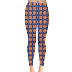Orange Basketball Sports Pattern On A Blue Leggings