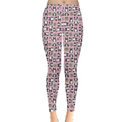 Pink Panda Leaf Pattern Leggings by CoolDesigns