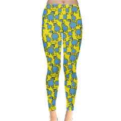 Yellow Goats And Sheep Pattern Leggings by CoolDesigns