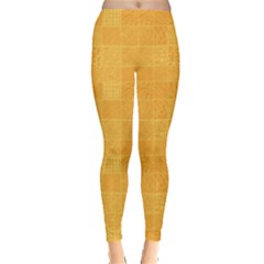Yellow Abstract Square Doodle Pattern Leggings
