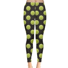 Green Tennis Balls Pattern Leggings by CoolDesigns