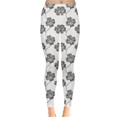 Gray Engraved Pattern Four Leaf Clover Leggings by CoolDesigns