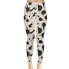 Black Pattern Abstract Splash Brush Strokes Monochrome Leggings by CoolDesigns