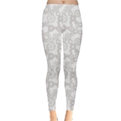 Gray Pattern Gear Wheels Black Checkered Leggings by CoolDesigns