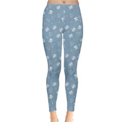 Blue Leaves Flowers Grunge Pattern Leggings