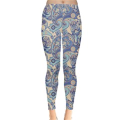 Blue Pattern  Elements Paisley Leggings by CoolDesigns