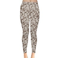 Brown Floral Flower Pattern Leggings