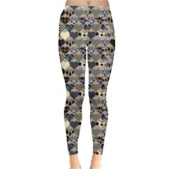Colorful Pattern Hearts In Patchwork Style Leggings