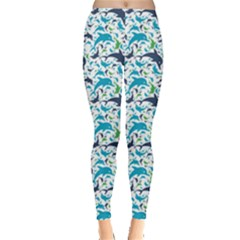 Blue Dolphin Pattern Leggings by CoolDesigns
